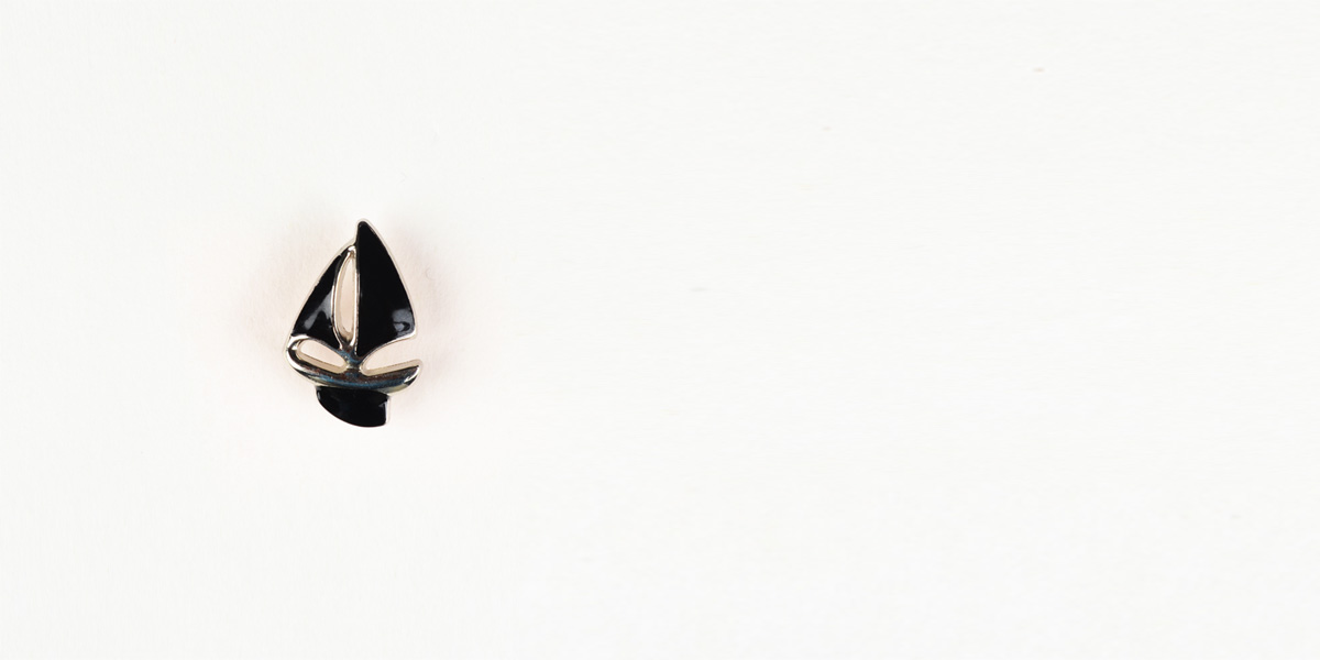 Yatch Black And Silver-Tone Lapel Pin- view-1