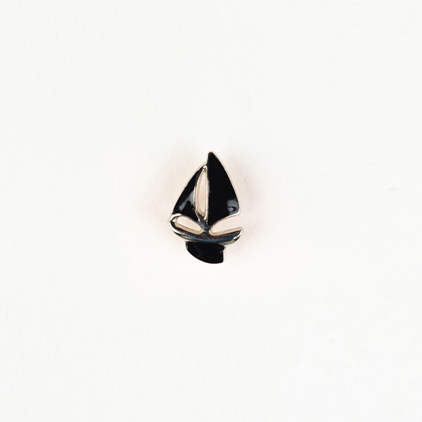 Yatch Black And Silver-Tone Lapel Pin-mbview-1
