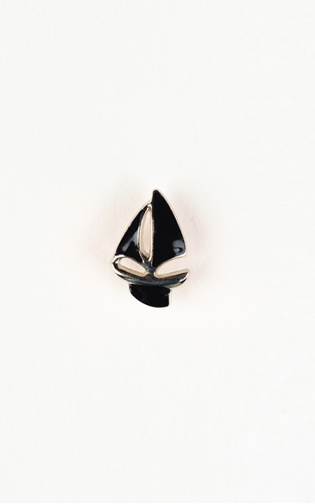 Yatch Black and Silver-Tone Lapel Pin