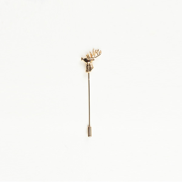 Reindeer Gold-Tone Boutonniere Lapel Pin-mbview-main