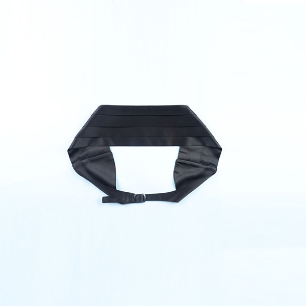 Black Pleated Satin Cummerbund-mbview-3