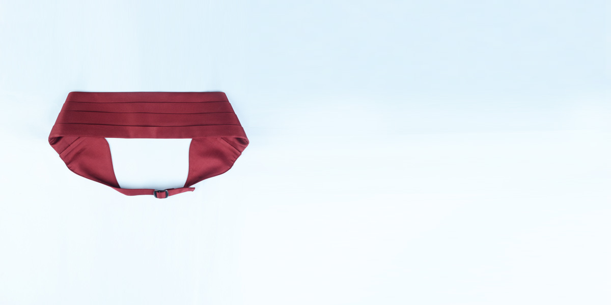 Maroon Pleated Satin Cummerbund- view-3