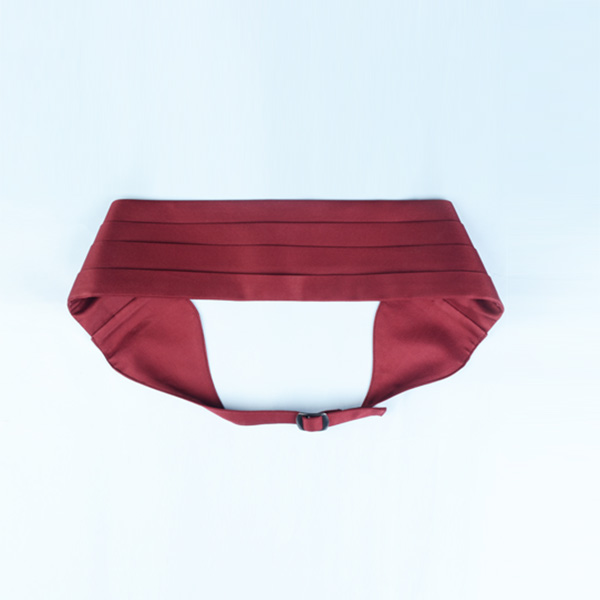 Maroon Pleated Satin Cummerbund-mbview-3
