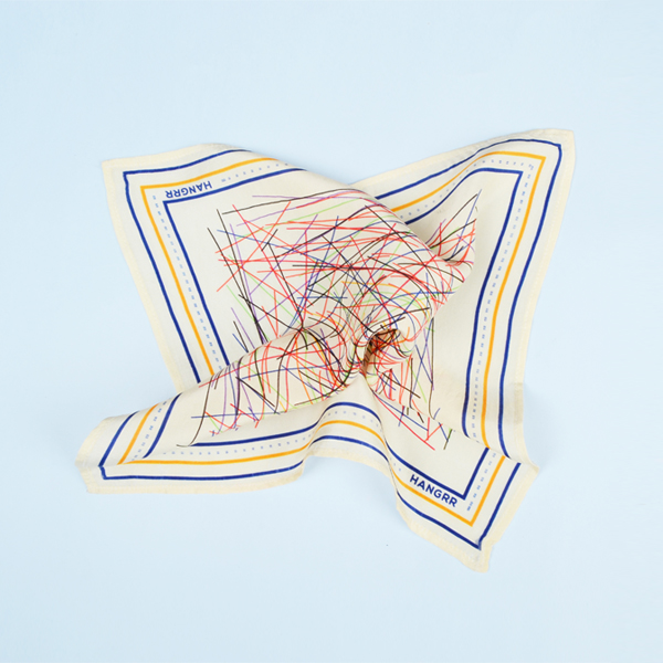 Cross Fire Yellow Blue Silk Pocket Square-mbview-2