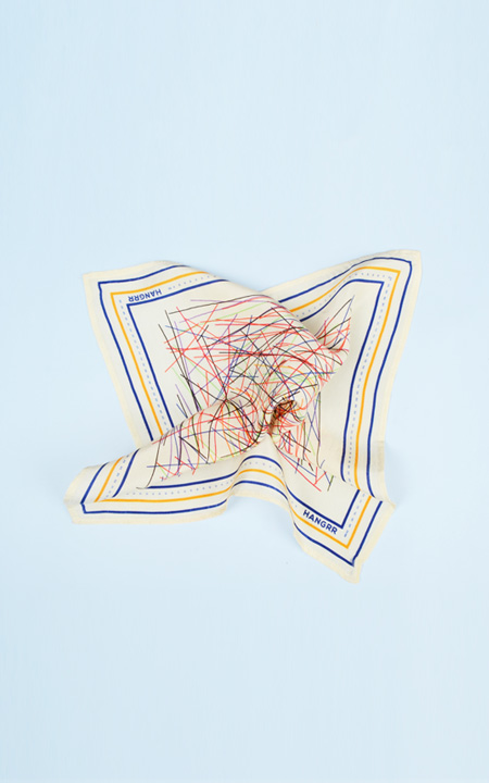 Cross Fire Yellow Blue Silk Pocket Square