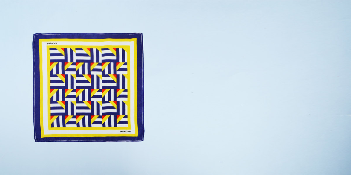 Crossroads Blue Graphic Silk Pocket Square- view-1