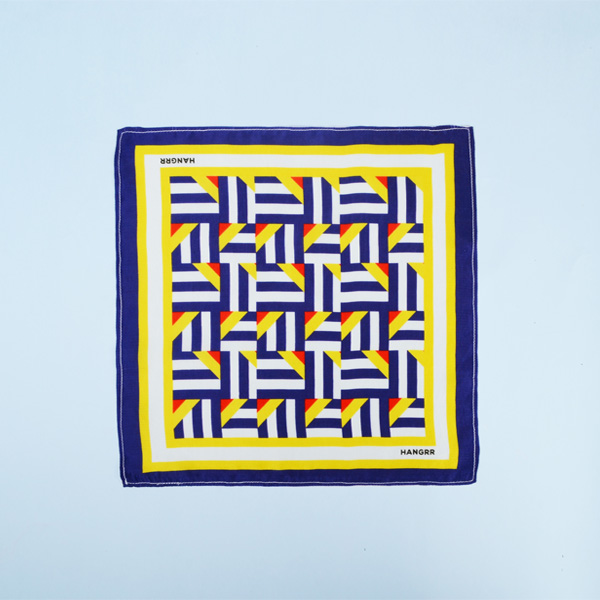 Crossroads Blue Graphic Silk Pocket Square-mbview-1
