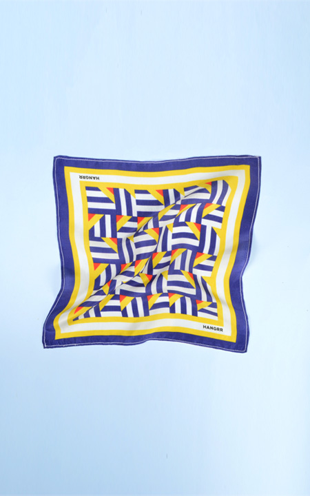 Crossroads Blue Graphic Silk Pocket Square