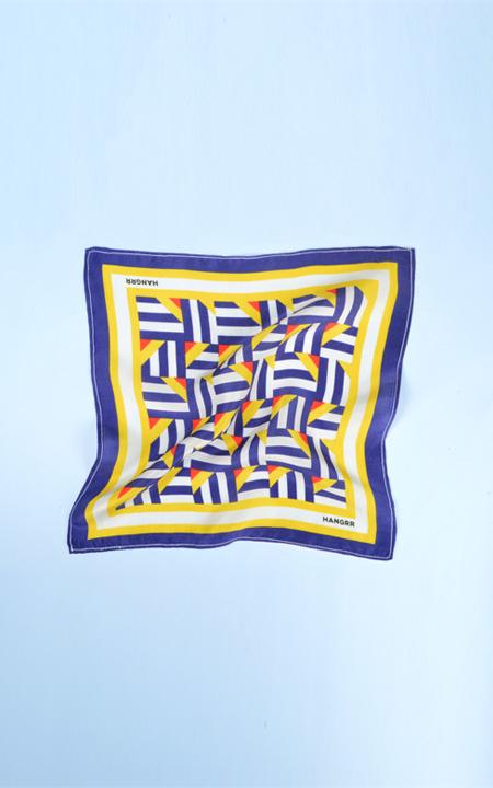 Crossroads Blue Graphic Silk Pocket Square