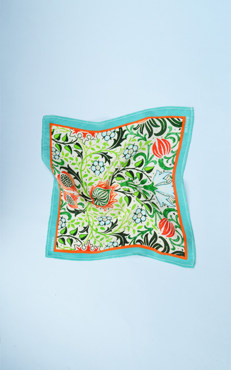 Garden Chemistry Green Silk Pocket Square