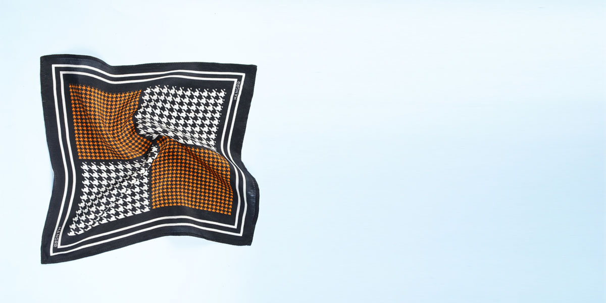 Houndstooth Black Print Silk Pocket Square- view-2