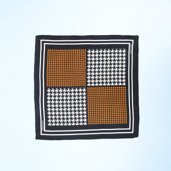 Houndstooth Black Print Silk Pocket Square-mbview-1