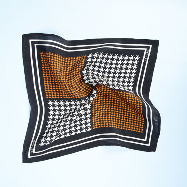 Houndstooth Black Print Silk Pocket Square-mbview-2