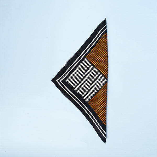 Houndstooth Black Print Silk Pocket Square-mbview-3