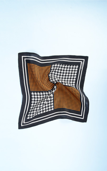 Houndstooth Black Print Silk Pocket Square