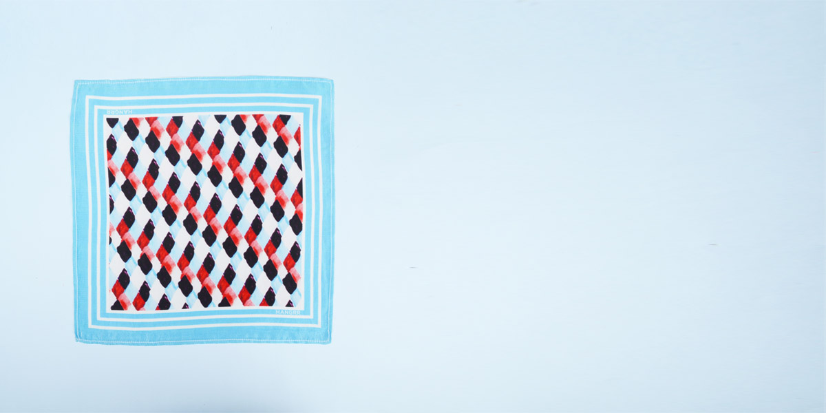 Light Blue Rust Silk Pocket Square- view-1