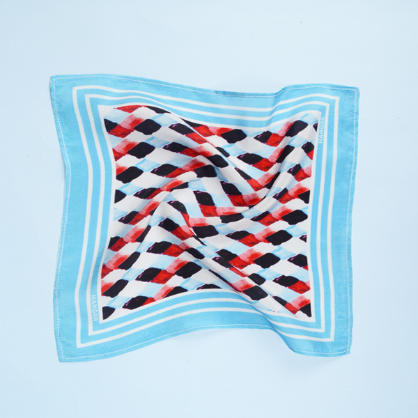 Light Blue Rust Silk Pocket Square-mbview-2