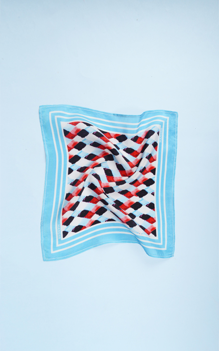 Light Blue Rust Silk Pocket Square