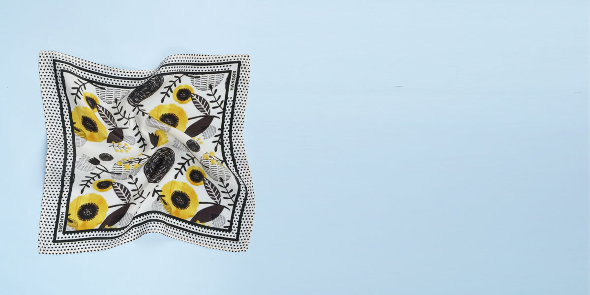 Sunflower Spotbee Polka Silk Pocket Square- view-2