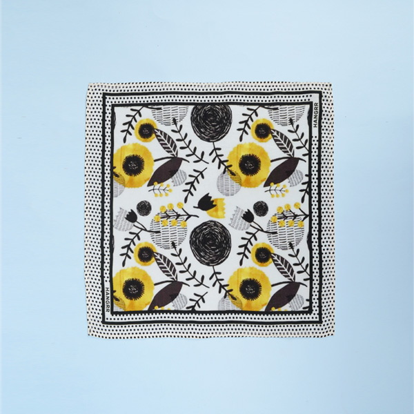 Sunflower Spotbee Polka Silk Pocket Square-mbview-1