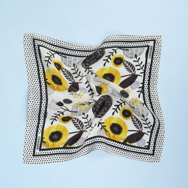 Sunflower Spotbee Polka Silk Pocket Square-mbview-2