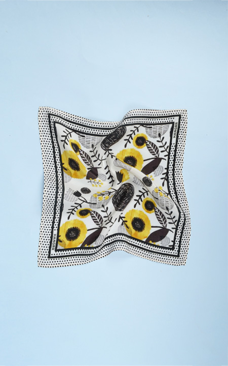 Sunflower Spotbee Polka Silk Pocket Square