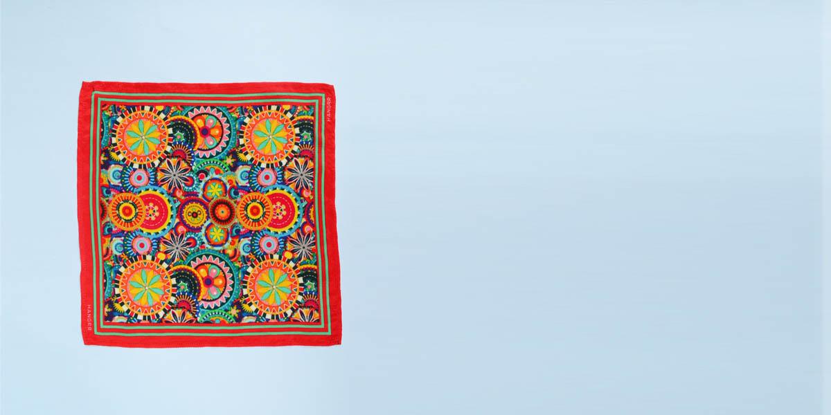 Kaleidoscopic Fortune Wheels Silk Pocket Square- view-1