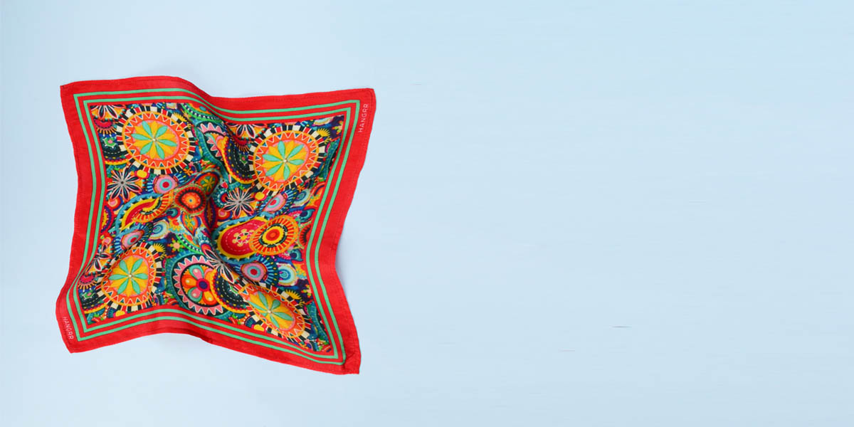 Kaleidoscopic Fortune Wheels Silk Pocket Square- view-2