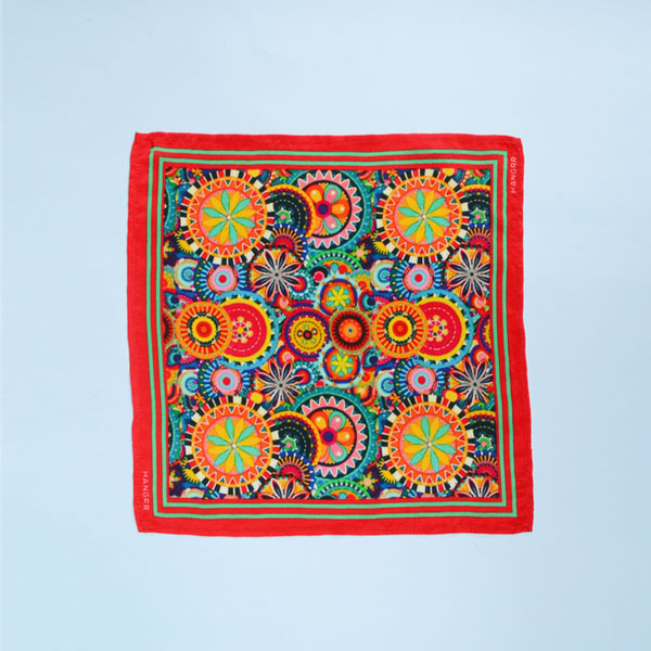 Kaleidoscopic Fortune Wheels Silk Pocket Square-mbview-1