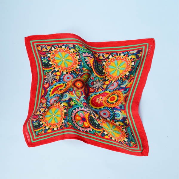 Kaleidoscopic Fortune Wheels Silk Pocket Square-mbview-2