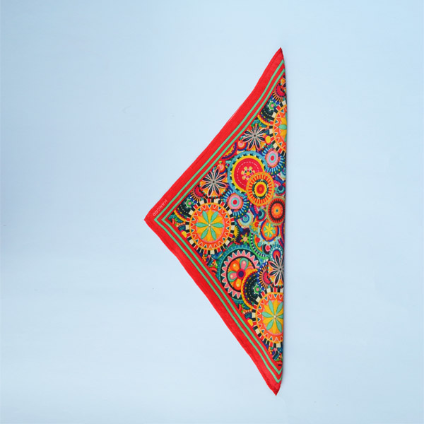Kaleidoscopic Fortune Wheels Silk Pocket Square-mbview-3