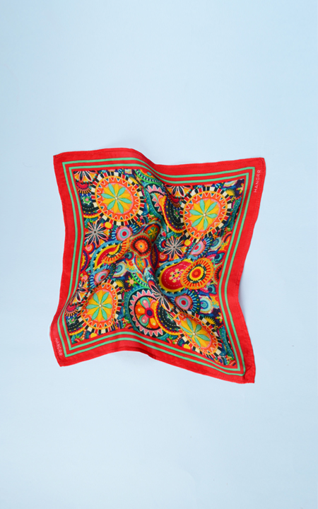Kaleidoscopic Fortune Wheels Silk Pocket Square