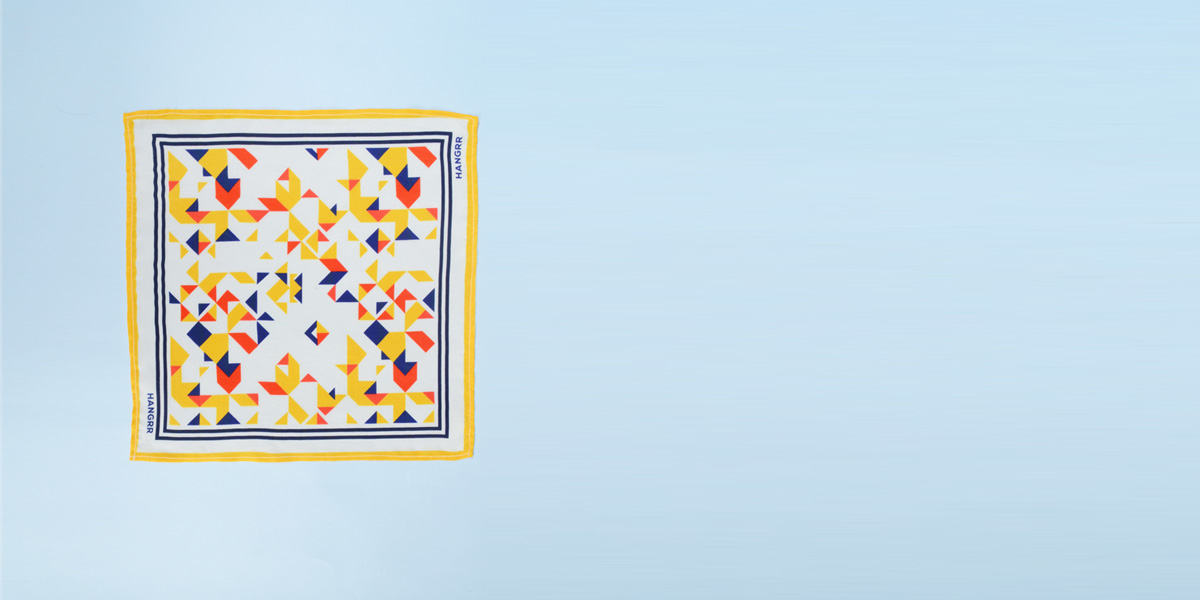 Triangulation Yellow Red Pocket Square- view-1