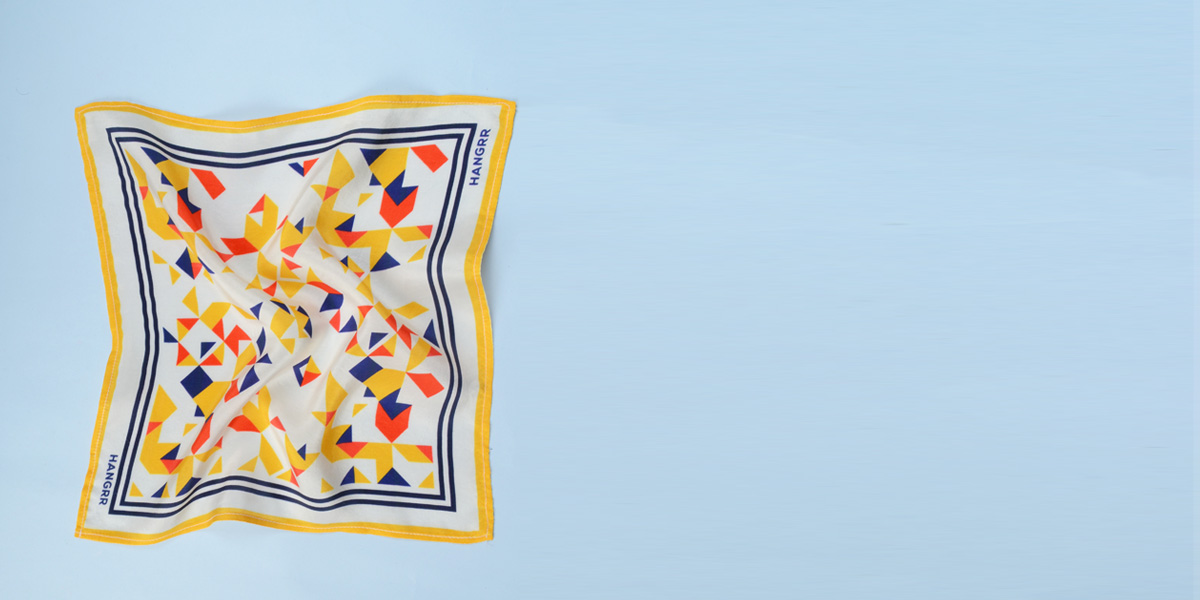 Triangulation Yellow Red Pocket Square- view-2