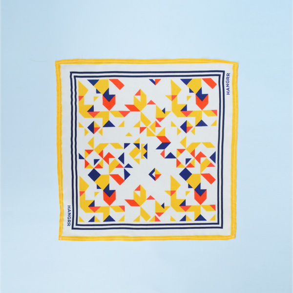 Triangulation Yellow Red Pocket Square-mbview-1