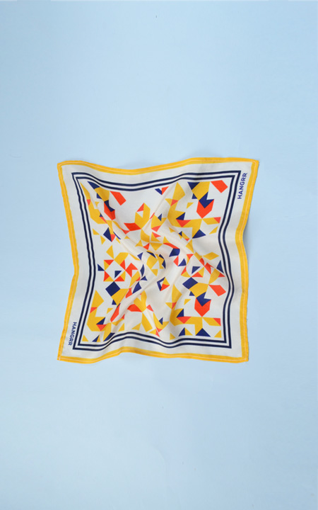 Triangulation Yellow Red Pocket Square