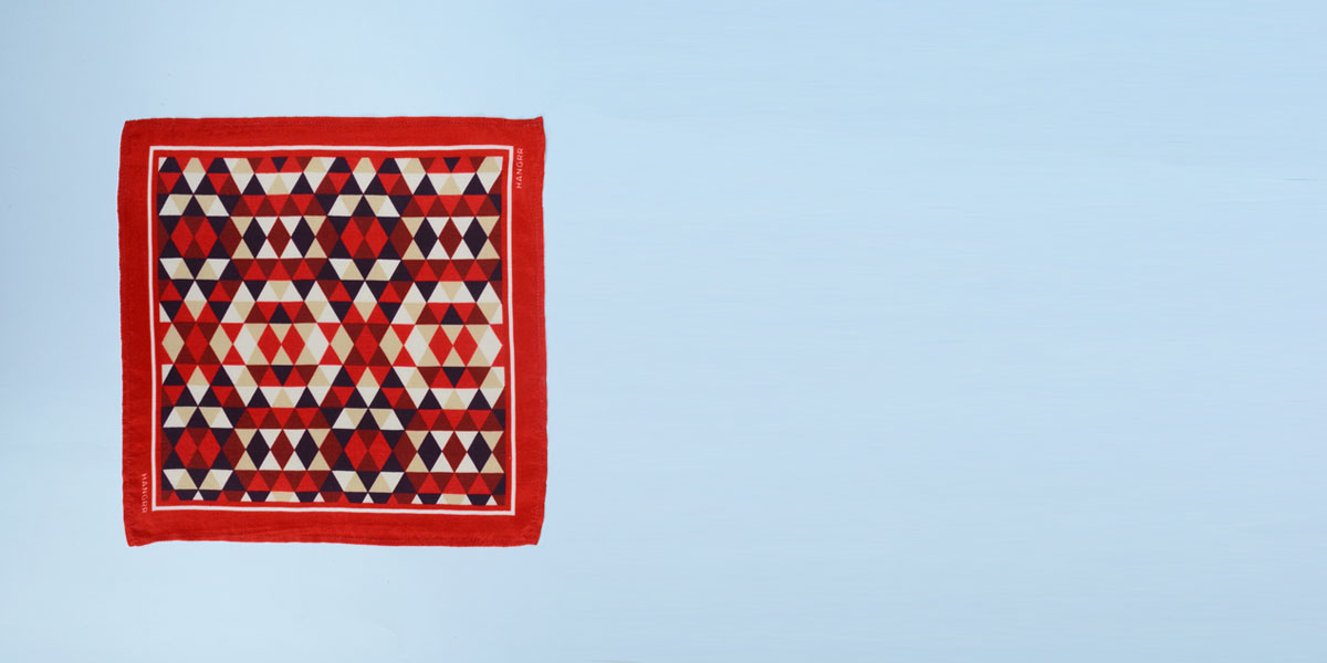 Egyptian Pyramid Red Silk Pocket Square- view-1