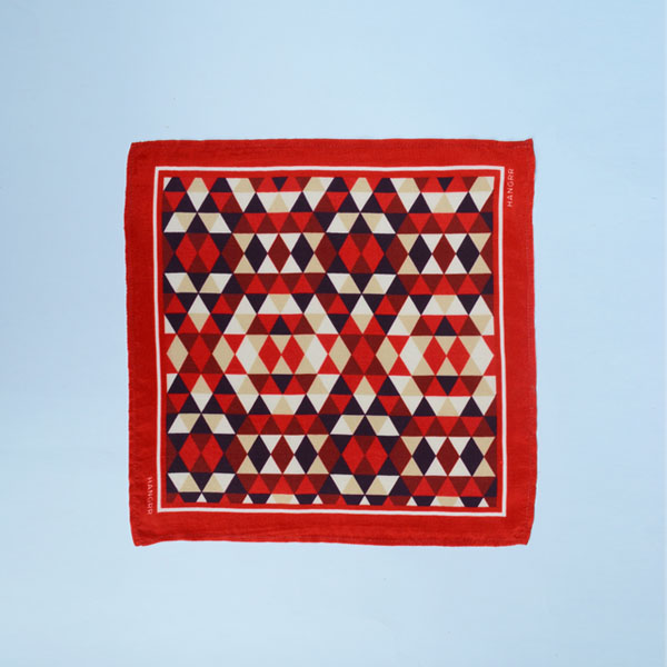 Egyptian Pyramid Red Silk Pocket Square-mbview-1