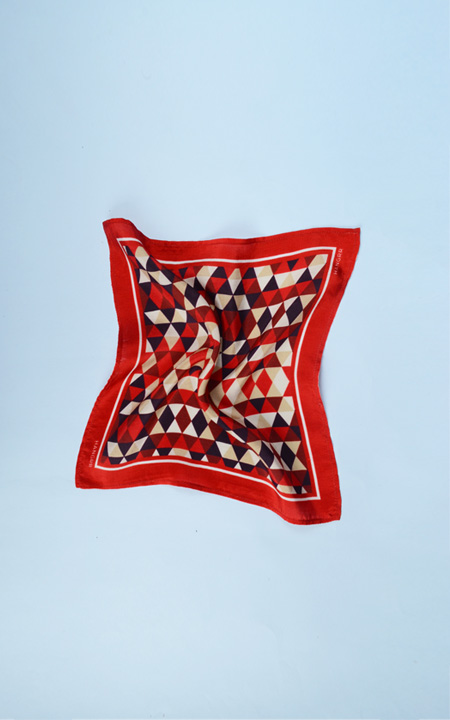 Egyptian Pyramid Red Silk Pocket Square