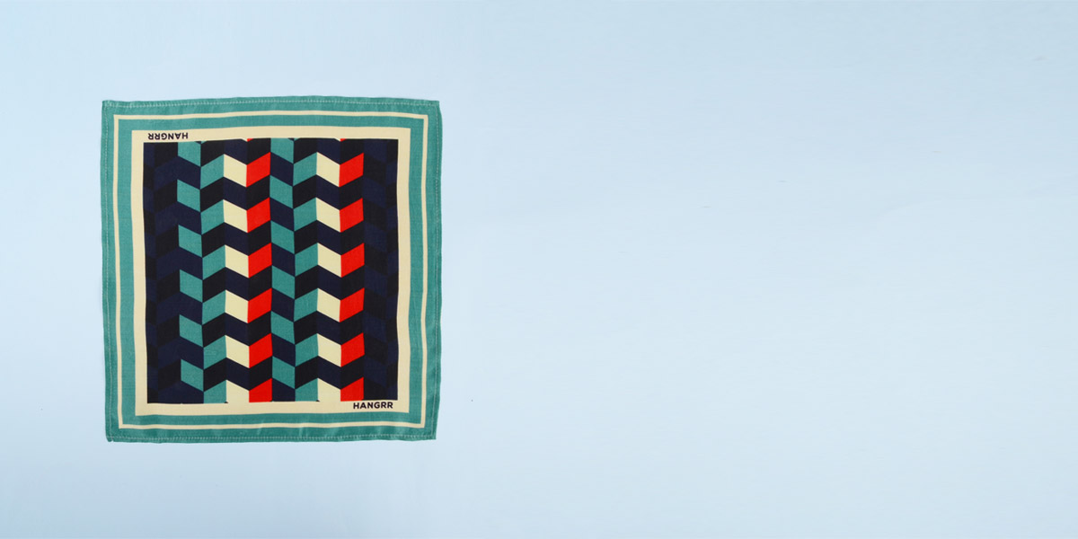 Chevron Redfire Silk Pocket Square- view-1