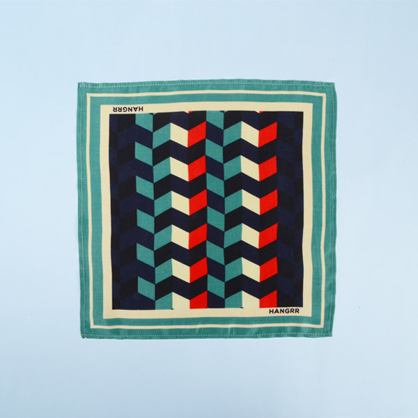 Chevron Redfire Silk Pocket Square-mbview-1