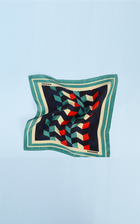 Chevron Redfire Silk Pocket Square