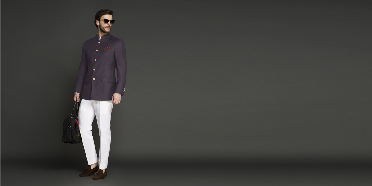 Spanish Purple Jodhpuri Suit- view-1