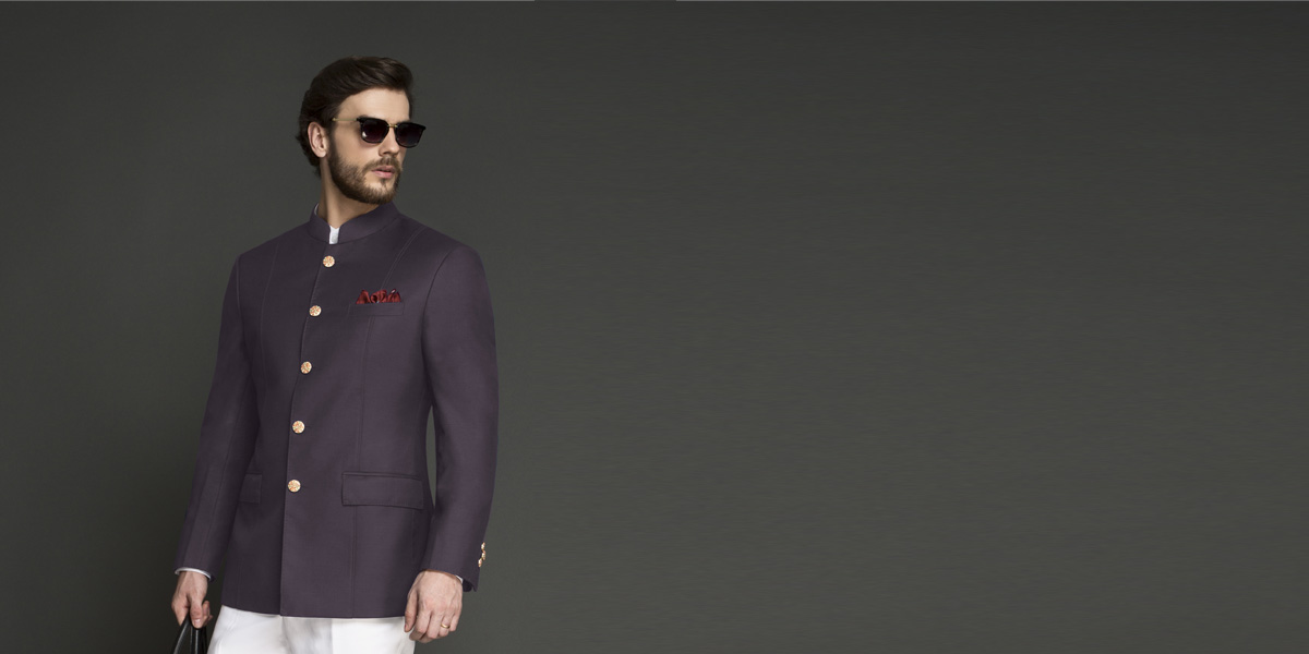 Spanish Purple Jodhpuri Suit- view-3