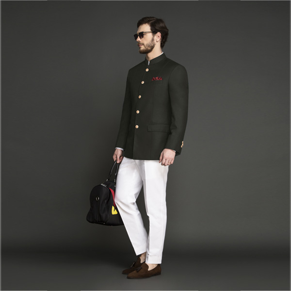 Olive Green Jodhpuri Suit-mbview-1