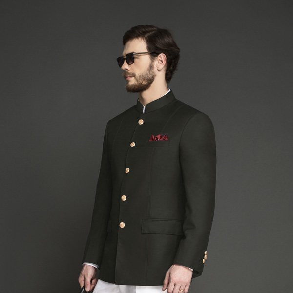 Olive Green Jodhpuri Suit-mbview-3