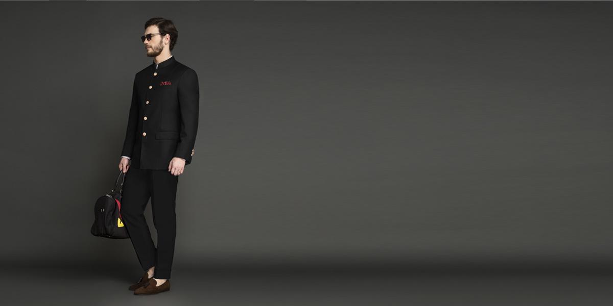 Classic Black Jodhpuri Suit- view-1