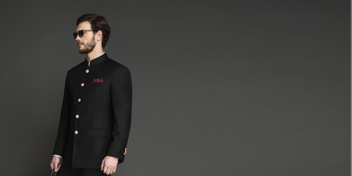 Classic Black Jodhpuri Suit- view-3