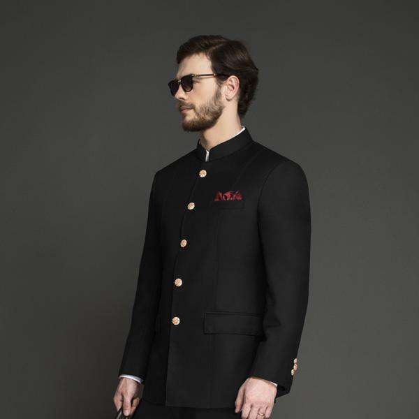 Classic Black Jodhpuri Suit-mbview-3