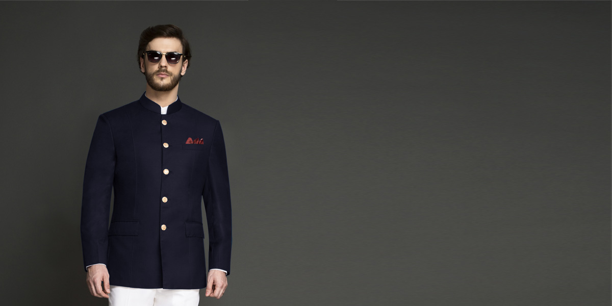 Navy Blue Jodhpuri Suit- view-3